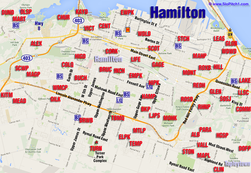 Map of Hamilton Slo-Pitch Parks & Slo-Pitch Diamonds