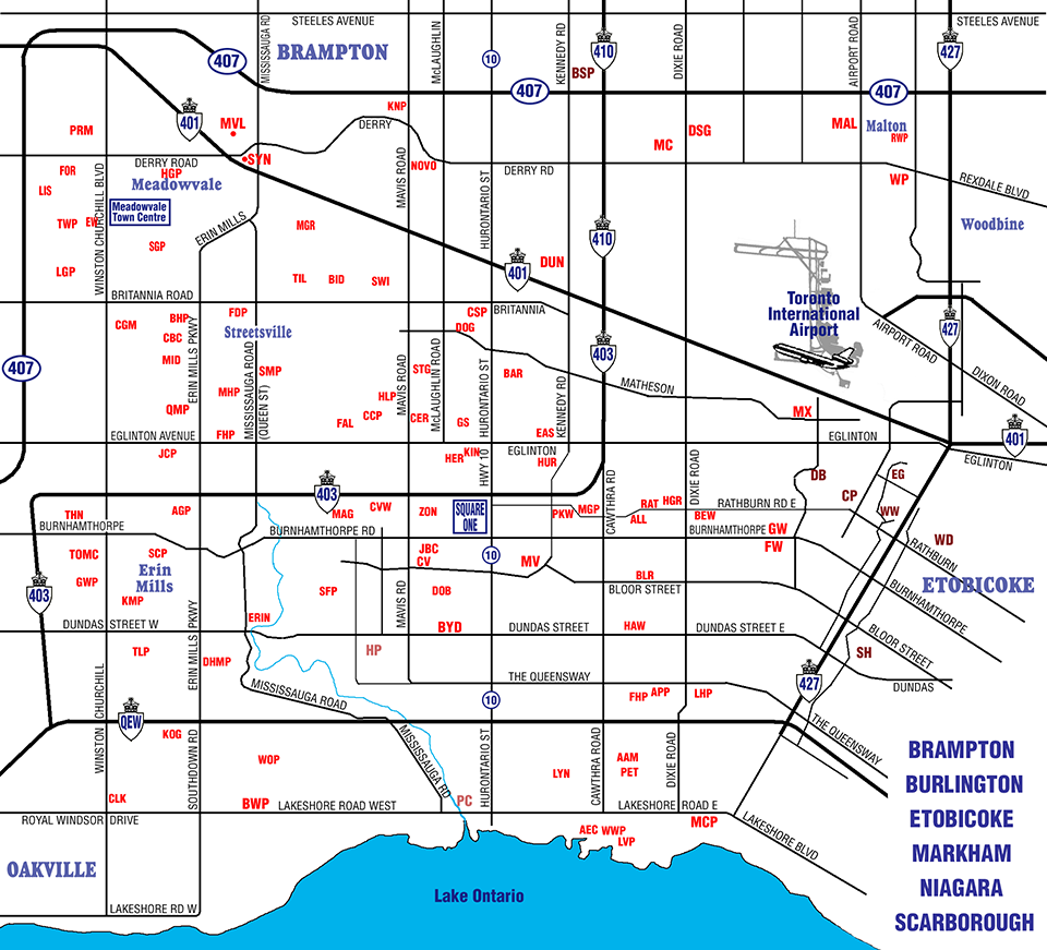 mississauga ontario postal codes map